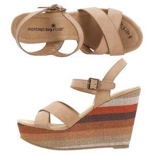 NWT : Montego Bay Club 'Tan Sarah' Striped Wedges